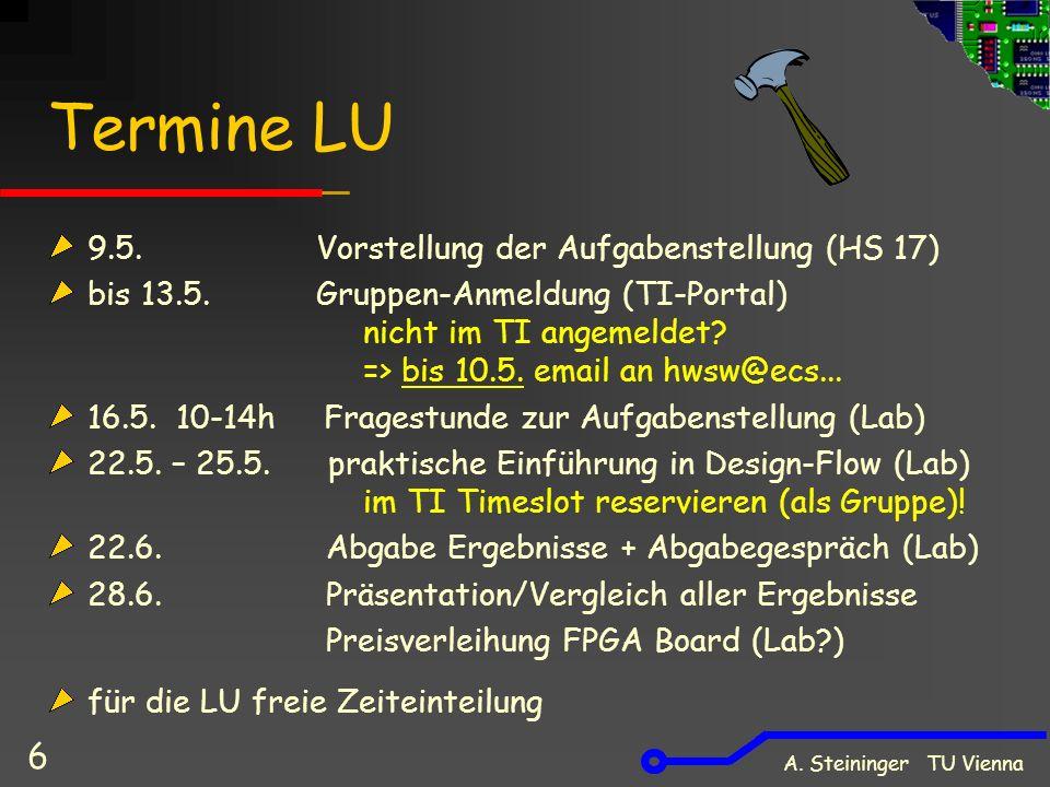 A. Steininger TU Vienna 6 Termine LU 9.5. Vorstellung der Aufgabenstellung (HS 17) bis 13.5.