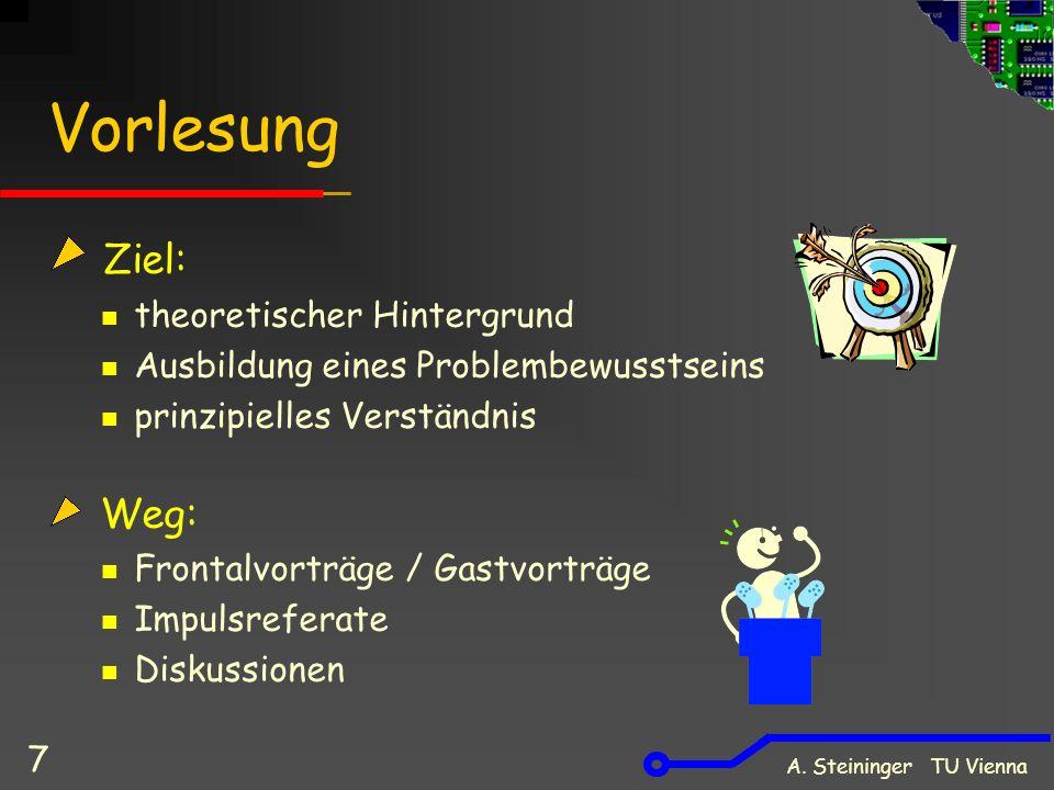 A. Steininger TU Vienna 7 Vorlesung Ziel: theoretischer Hintergrund Ausbildung eines Problembewusstseins prinzipielles Verständnis Weg: Frontalvorträg
