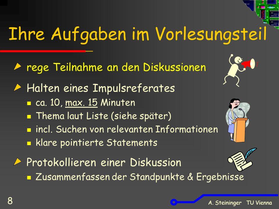 A. Steininger TU Vienna 8 Ihre Aufgaben im Vorlesungsteil rege Teilnahme an den Diskussionen Halten eines Impulsreferates ca. 10, max. 15 Minuten Them
