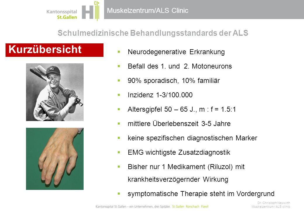 Muskelzentrum/ALS Clinic Schulmedizinische Behandlungsstandards der ALS  Neurodegenerative Erkrankung  Befall des 1. und 2. Motoneurons  90% sporad