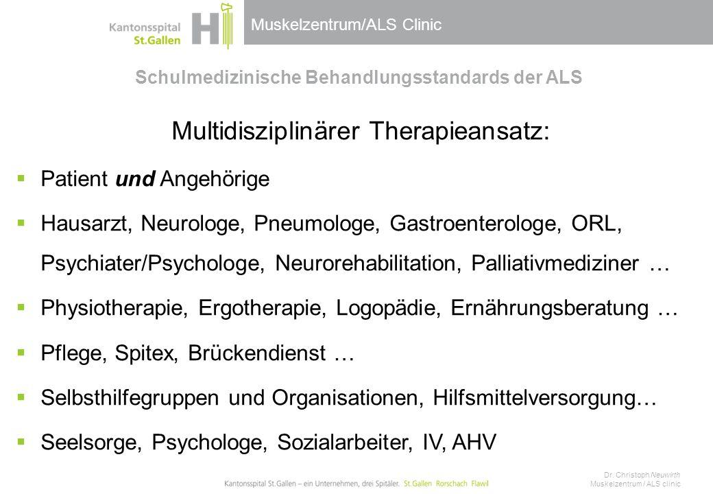 Muskelzentrum/ALS Clinic Schulmedizinische Behandlungsstandards der ALS Multidisziplinärer Therapieansatz:  Patient und Angehörige  Hausarzt, Neurol