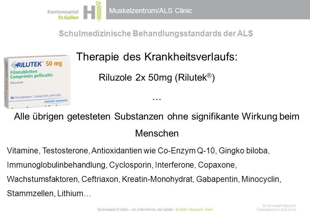Muskelzentrum/ALS Clinic Schulmedizinische Behandlungsstandards der ALS Therapie des Krankheitsverlaufs: Riluzole 2x 50mg (Rilutek ® ) … Alle übrigen