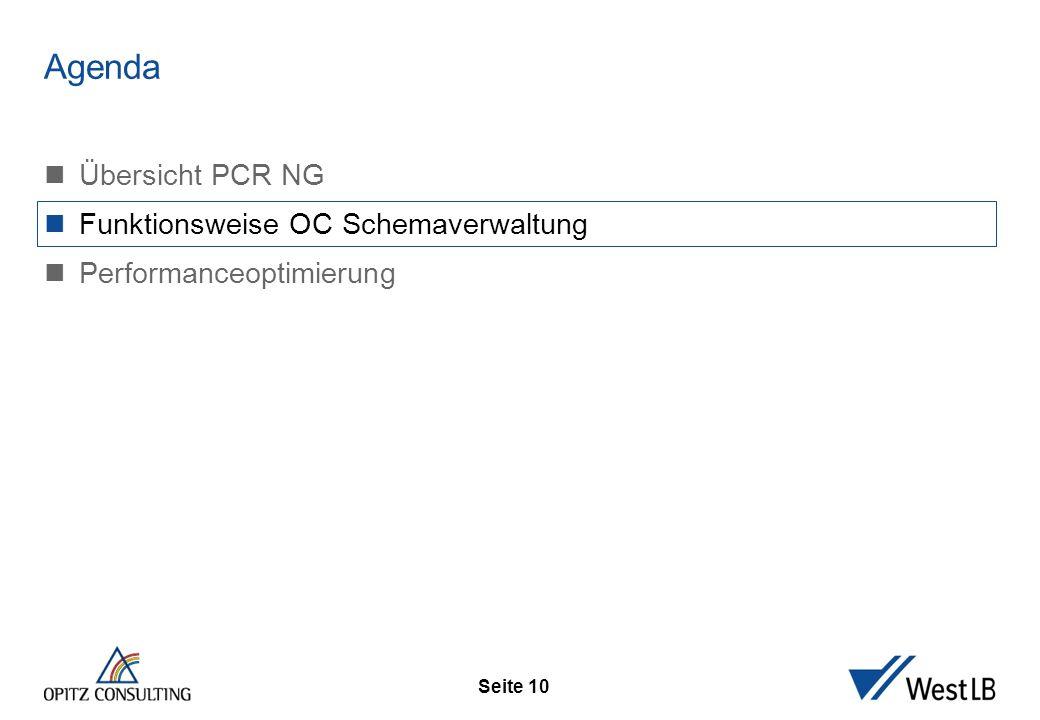Seite 10 Funktionswei se OC Schemaverw altung Übersicht PCR NG Funktionsweise OC Schemaverwaltung Performanceoptimierung Agenda