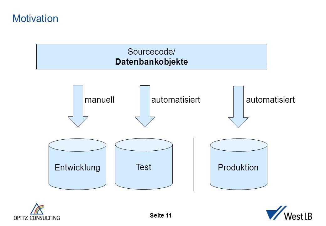 Seite 11 Motivation Entwicklung Sourcecode/ Datenbankobjekte Test Produktion automatisiert manuell