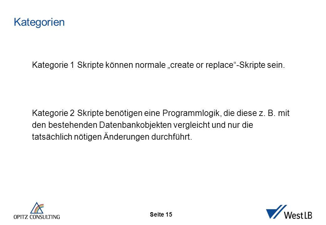 "Seite 15 Kategorien Kategorie 1 Skripte können normale ""create or replace -Skripte sein."