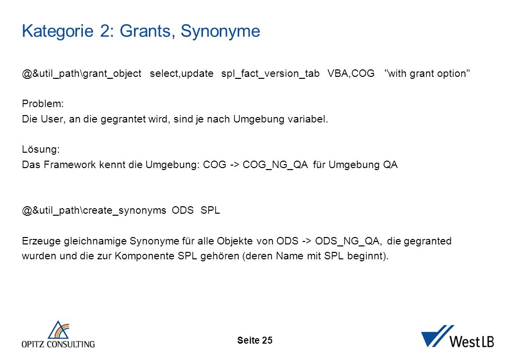 Seite 25 Kategorie 2: Grants, Synonyme @&util_path\grant_object select,update spl_fact_version_tab VBA,COG