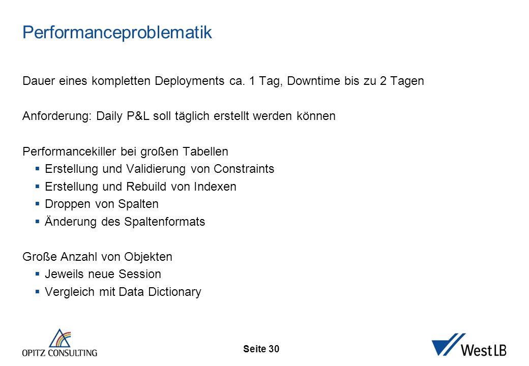 Seite 30 Performanceproblematik Dauer eines kompletten Deployments ca. 1 Tag, Downtime bis zu 2 Tagen Anforderung: Daily P&L soll täglich erstellt wer