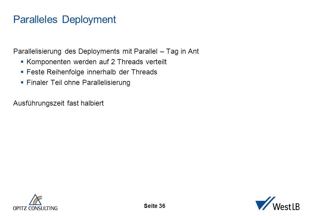 Seite 36 Paralleles Deployment Parallelisierung des Deployments mit Parallel – Tag in Ant  Komponenten werden auf 2 Threads verteilt  Feste Reihenfo
