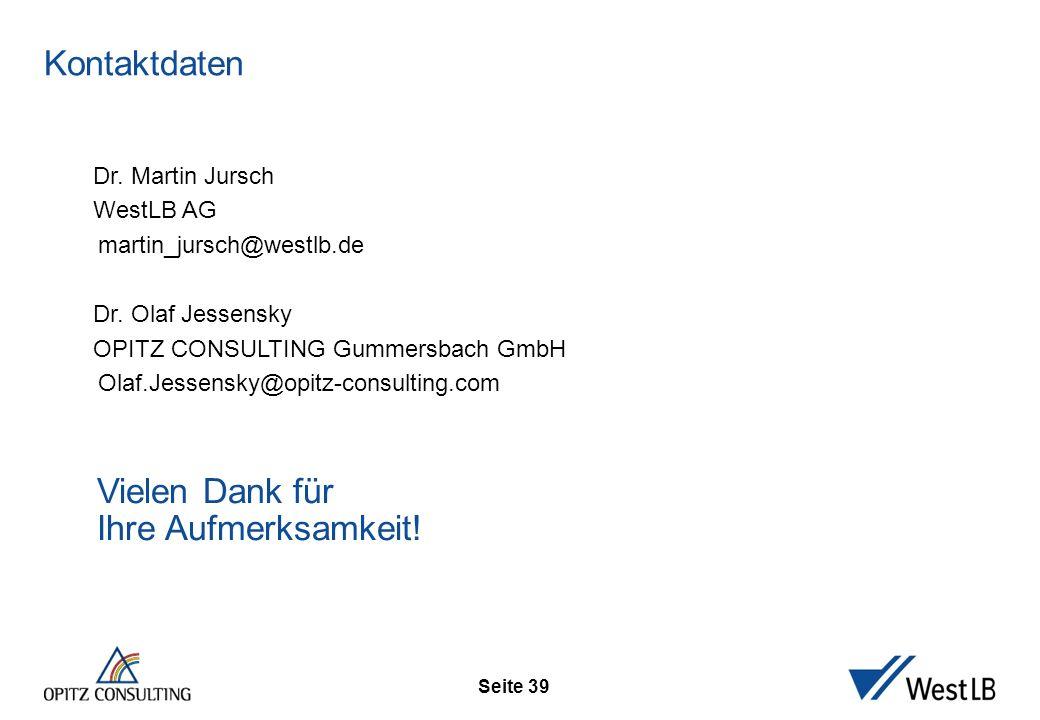 Seite 39 Kontaktdaten Dr. Martin Jursch WestLB AG martin_jursch@westlb.de Dr. Olaf Jessensky OPITZ CONSULTING Gummersbach GmbH Olaf.Jessensky@opitz-co