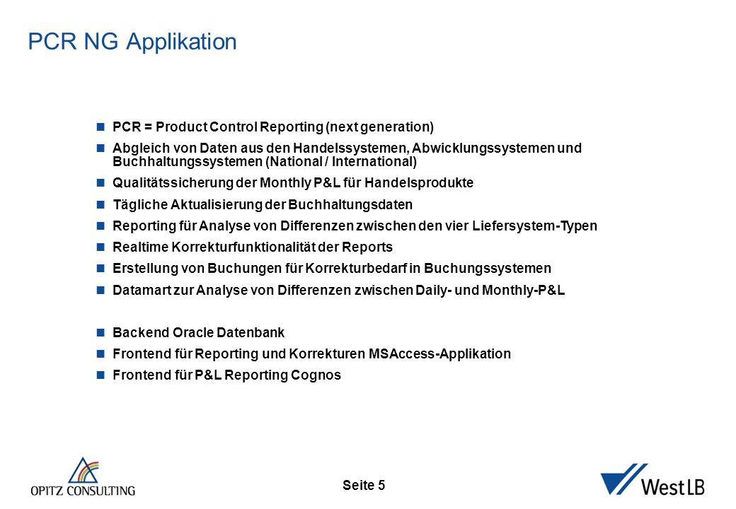 Seite 5 PCR NG Applikation PCR = Product Control Reporting (next generation) Abgleich von Daten aus den Handelssystemen, Abwicklungssystemen und Buchh