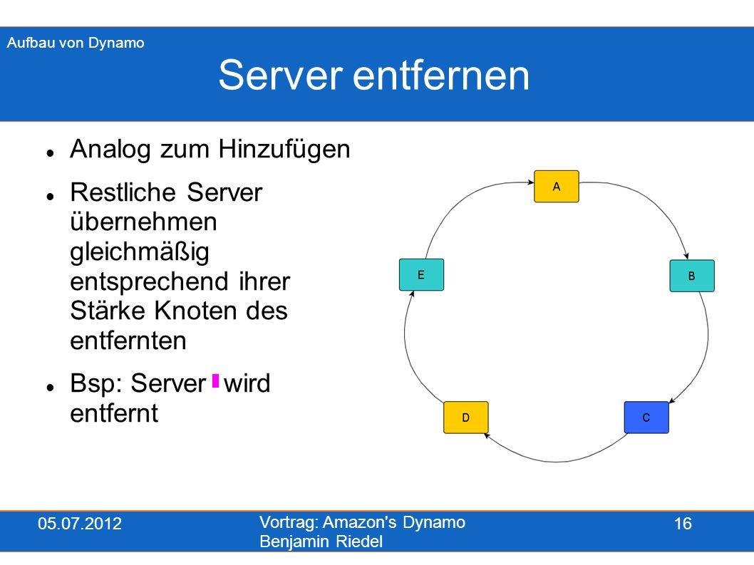 05.07.2012 Vortrag: Amazon's Dynamo Benjamin Riedel 16 Server entfernen Analog zum Hinzufügen Restliche Server übernehmen gleichmäßig entsprechend ihr