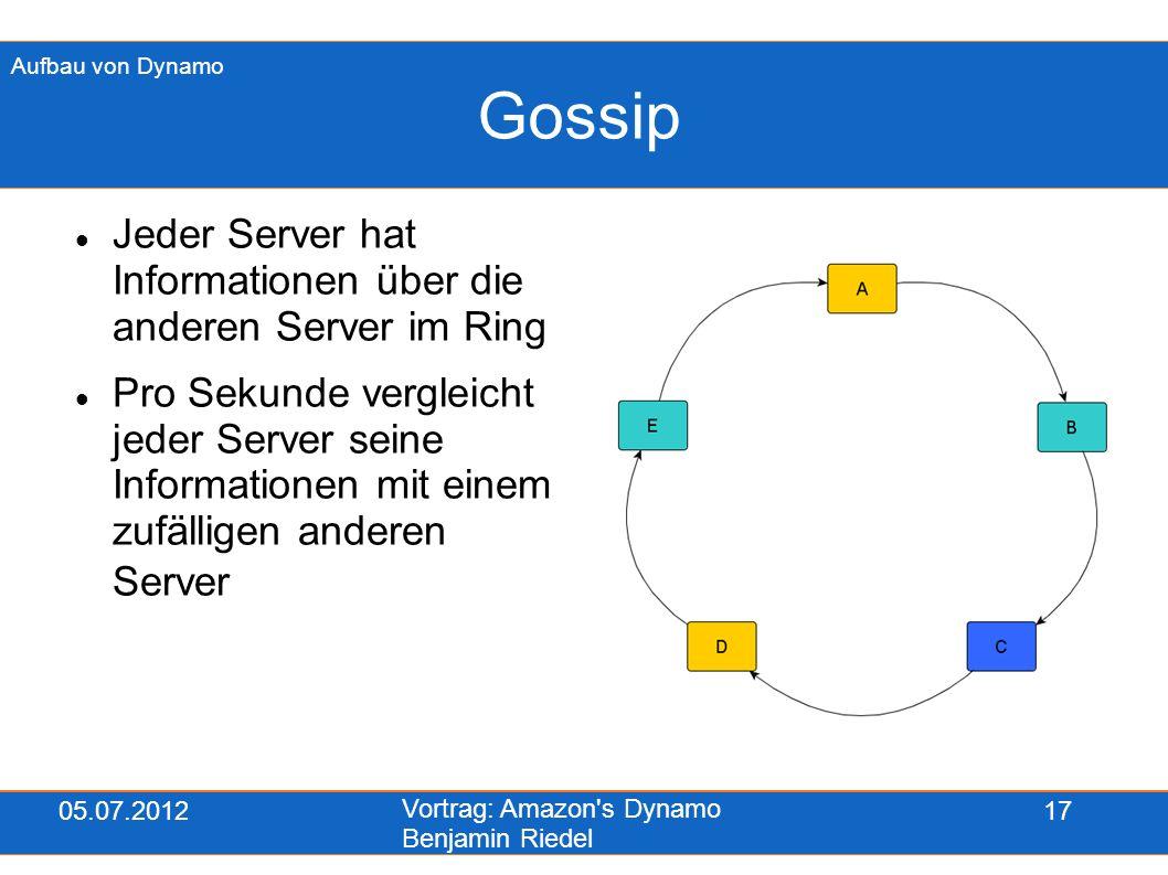 05.07.2012 Vortrag: Amazon's Dynamo Benjamin Riedel 17 Gossip Jeder Server hat Informationen über die anderen Server im Ring Pro Sekunde vergleicht je