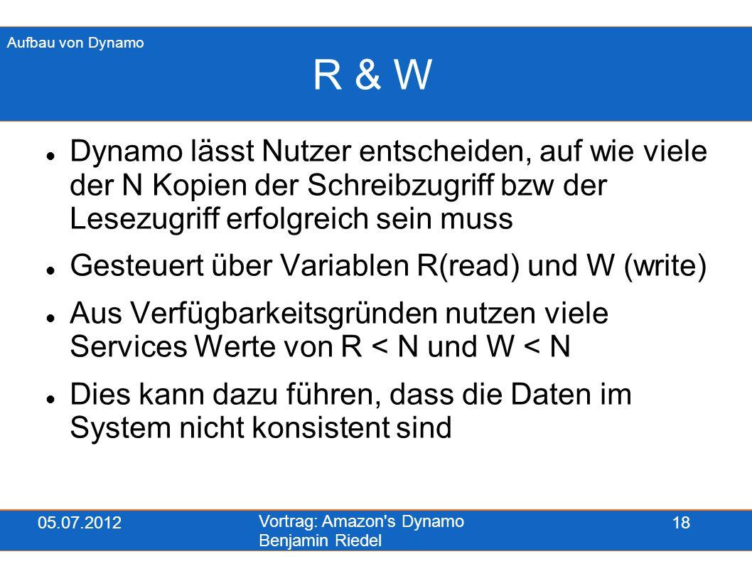 05.07.2012 Vortrag: Amazon's Dynamo Benjamin Riedel 18 R & W Dynamo lässt Nutzer entscheiden, auf wie viele der N Kopien der Schreibzugriff bzw der Le