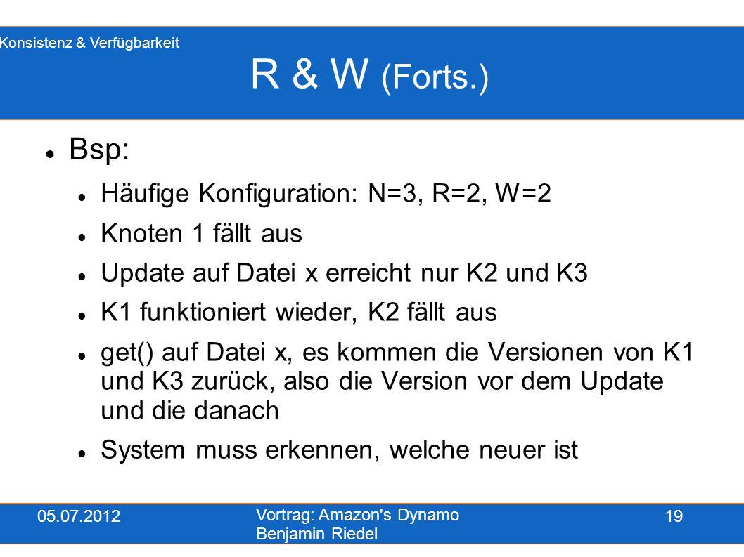 05.07.2012 Vortrag: Amazon's Dynamo Benjamin Riedel 19 R & W (Forts.) Bsp: Häufige Konfiguration: N=3, R=2, W=2 Knoten 1 fällt aus Update auf Datei x