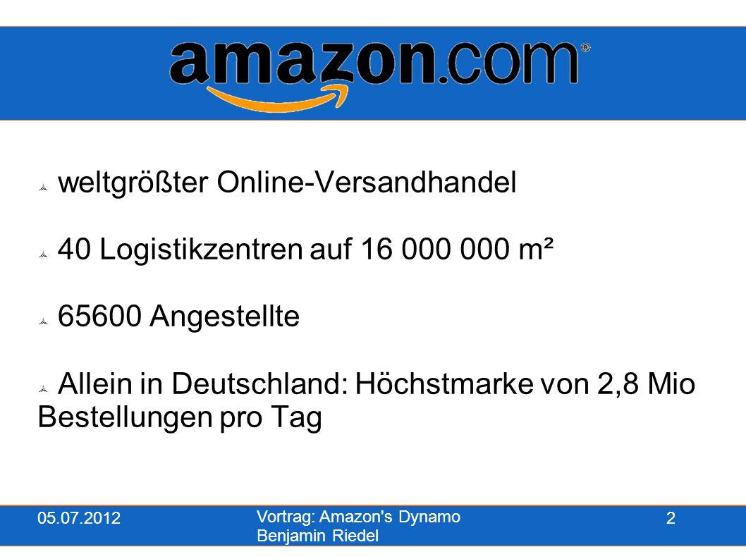 05.07.2012 Vortrag: Amazon's Dynamo Benjamin Riedel 2  weltgrößter Online-Versandhandel  40 Logistikzentren auf 16 000 000 m²  65600 Angestellte 