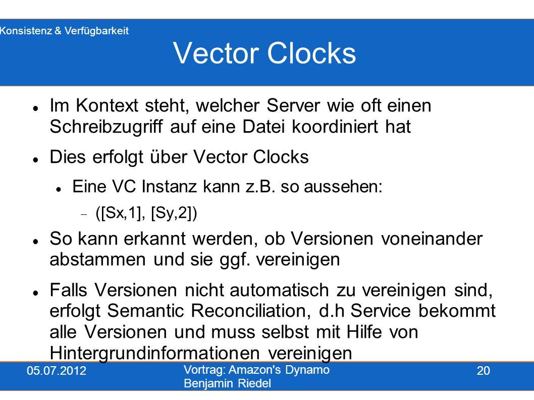 05.07.2012 Vortrag: Amazon's Dynamo Benjamin Riedel 20 Vector Clocks Im Kontext steht, welcher Server wie oft einen Schreibzugriff auf eine Datei koor