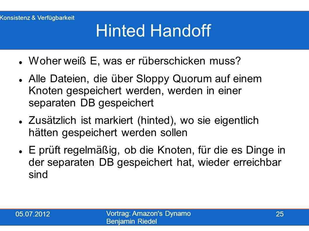 05.07.2012 Vortrag: Amazon's Dynamo Benjamin Riedel 25 Hinted Handoff Woher weiß E, was er rüberschicken muss? Alle Dateien, die über Sloppy Quorum au