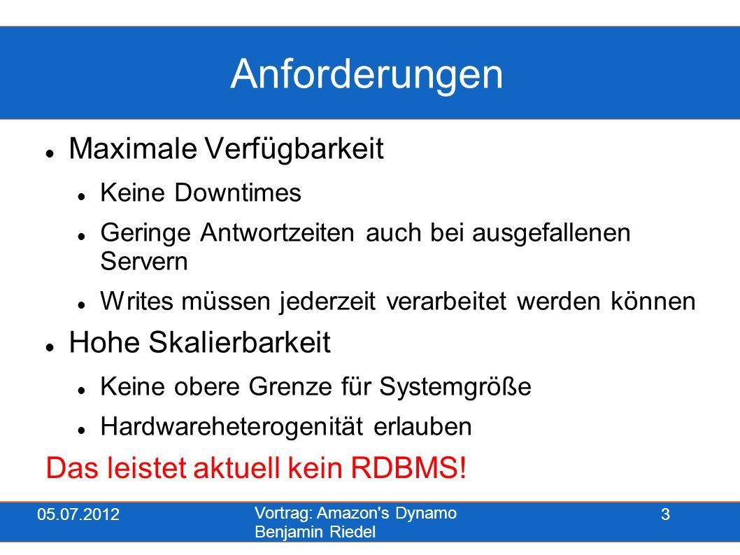 05.07.2012 Vortrag: Amazon's Dynamo Benjamin Riedel 3 Anforderungen Maximale Verfügbarkeit Keine Downtimes Geringe Antwortzeiten auch bei ausgefallene