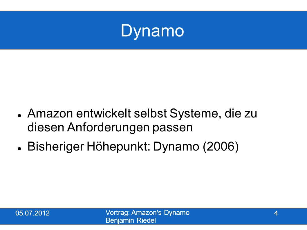 05.07.2012 Vortrag: Amazon s Dynamo Benjamin Riedel 15 Server hinzufügen Neuer Server wird im System angemeldet Übernimmt entsprechend seiner Größe x Knoten von anderen Servern Bsp: neuer Server ( ) übernimmt Knoten C Aufbau von Dynamo