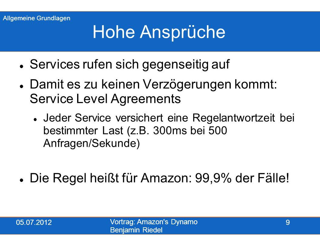05.07.2012 Vortrag: Amazon s Dynamo Benjamin Riedel 20 Vector Clocks Im Kontext steht, welcher Server wie oft einen Schreibzugriff auf eine Datei koordiniert hat Dies erfolgt über Vector Clocks Eine VC Instanz kann z.B.