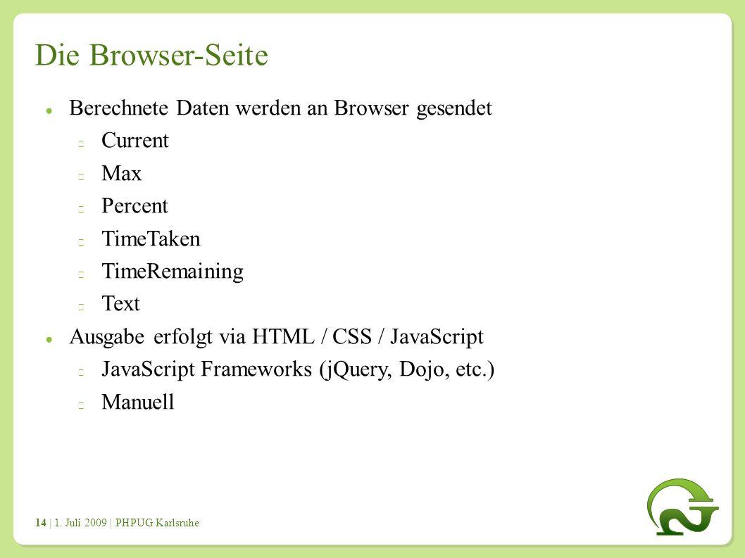 | 1. Juli 2009 | PHPUG Karlsruhe 1414 Die Browser-Seite ● Berechnete Daten werden an Browser gesendet Current Max Percent TimeTaken TimeRemaining Text
