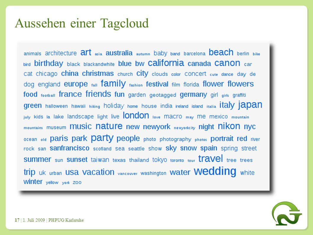 | 1. Juli 2009 | PHPUG Karlsruhe 1717 Aussehen einer Tagcloud