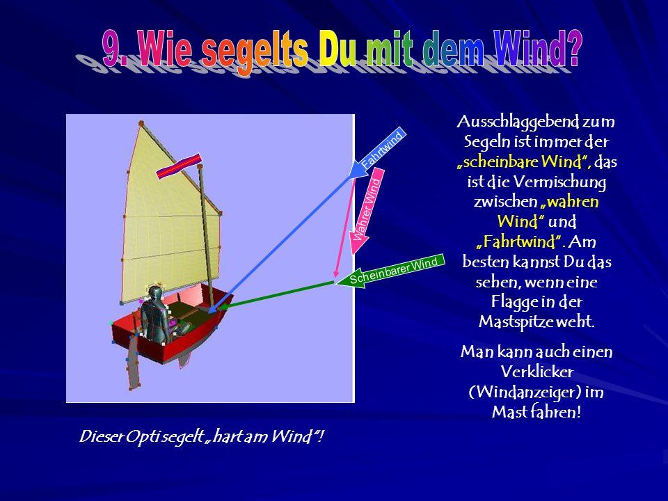 """Fahrtwind Scheinbarer Wind Wahrer Wind Ausschlaggebend zum Segeln ist immer der """"scheinbare Wind , das ist die Vermischung zwischen """"wahren Wind und """"Fahrtwind ."""