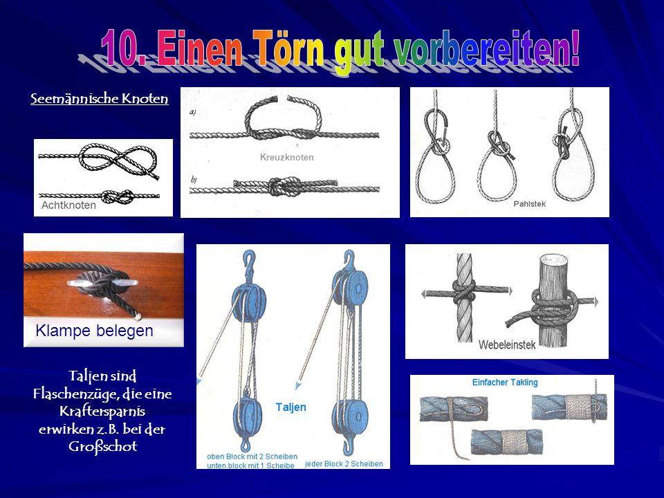 Seemännische Knoten Klampe belegen Kreuzknoten Taljen sind Flaschenzüge, die eine Kraftersparnis erwirken z.B.
