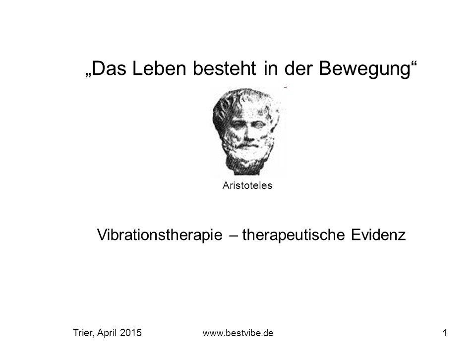 www.bestvibe.de11 Der Erfolg der Vibrationstherapie hängt entscheidend von der Schwingungstechnologie, der Frequenz und der Amplitude ab Eigenschaften von bestvibe-Geräten: Die bestvibe-Geräte sind die technologisch führenden Geräte im Bereich der biomechanischen Stimulation/Vibrations-Training und –therapie.