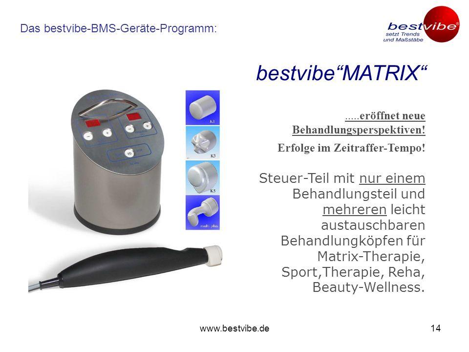www.bestvibe.de13 Das bestvibe-BMS-Geräte-Programm: Multidimensional-stochastisch schwingendes Therapie- und Intensiv-Trainingsgerät mit unterschiedlichen Schwingungs- Charakteristiken.