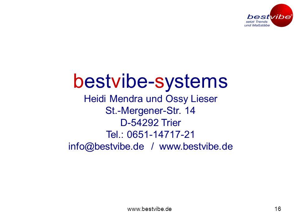 www.bestvibe.de15 bestvibe MEDY Das bestvibe-BMS-Geräte-Programm: Das innovative BMS-Gerät .