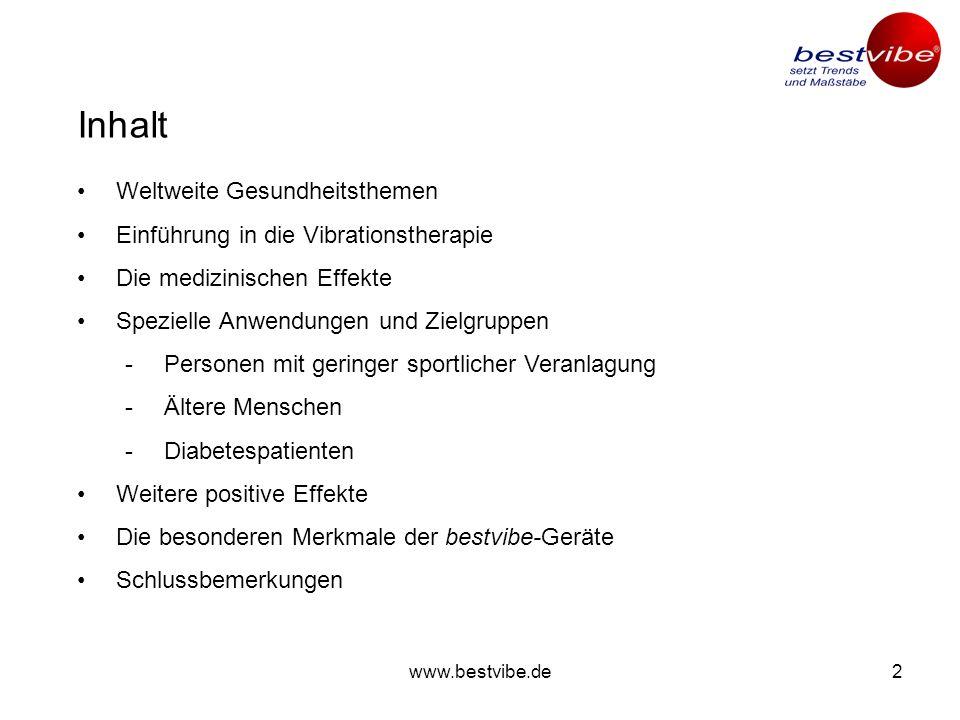 www.bestvibe.de12 Körperliche Aktivität ist der Schlüssel zu nachhaltiger Gesundheit – die bestvibe-Geräte sind der Schlüssel dazu, aktiv zu werden.