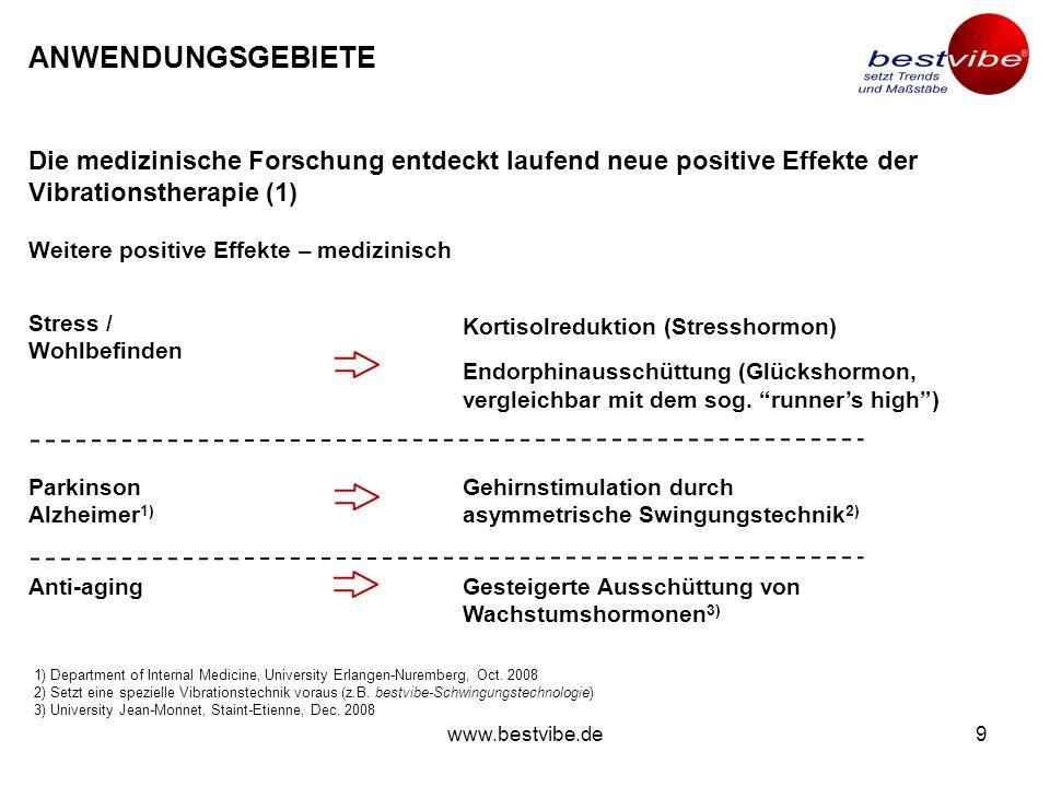 www.bestvibe.de8 ANWENDUNGSGEBIETE Diabetes 2 kann durch Vibrationstherapie erfolgreich bekämpft werden. Vibrationstherapie für Diabetespatienten Diab
