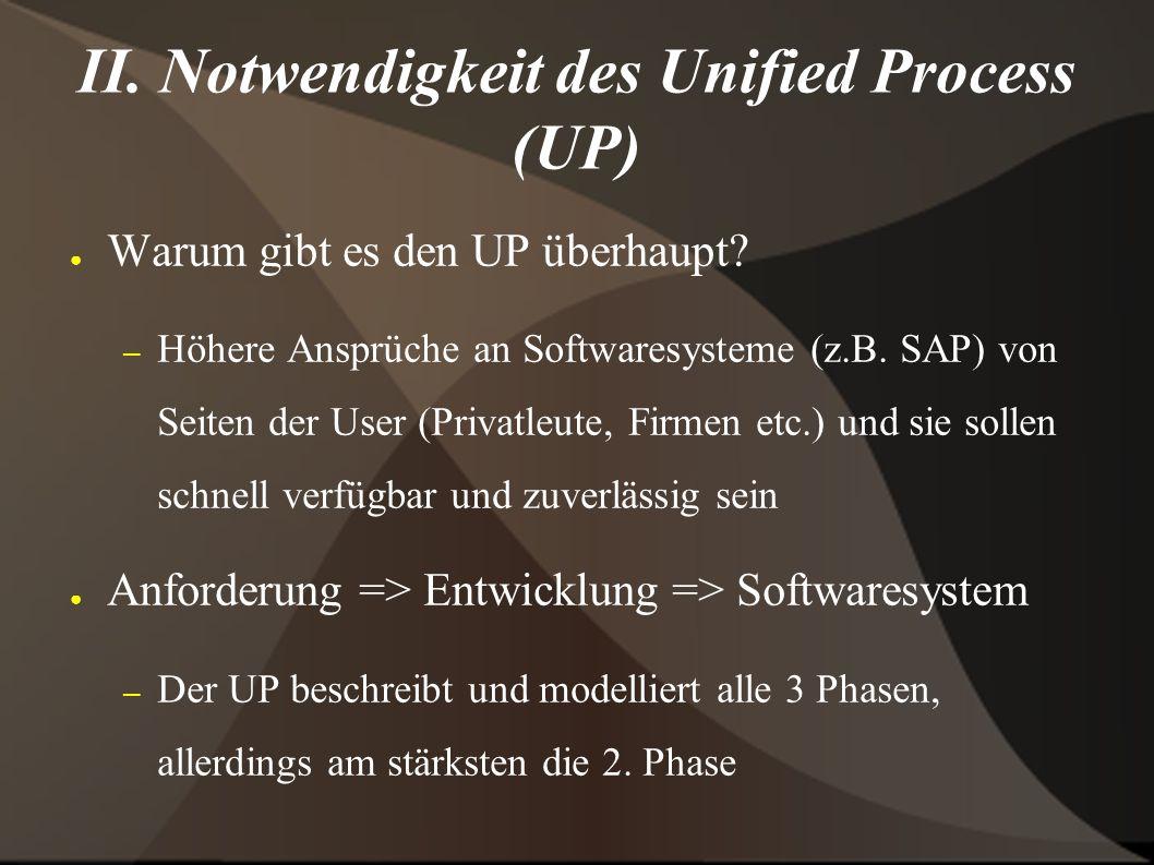 II. Notwendigkeit des Unified Process (UP) ● Warum gibt es den UP überhaupt.