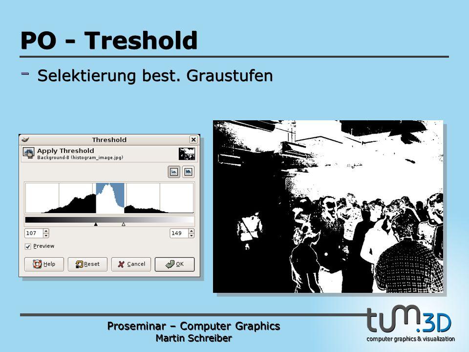 Proseminar – Computer Graphics Martin Schreiber computer graphics & visualization POGPULFFT PO - Treshold - Selektierung best.