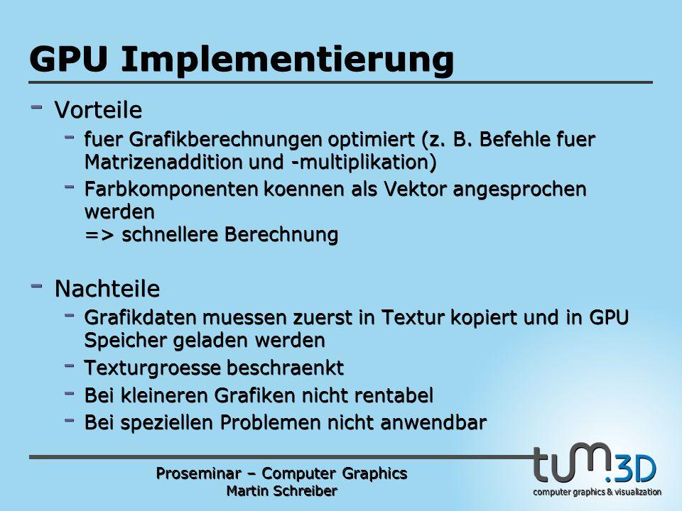 Proseminar – Computer Graphics Martin Schreiber computer graphics & visualization POGPULFFT GPU Implementierung - Vorteile - fuer Grafikberechnungen optimiert (z.
