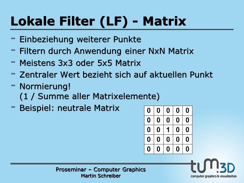 Proseminar – Computer Graphics Martin Schreiber computer graphics & visualization POGPULFFT Lokale Filter (LF) - Matrix - Einbeziehung weiterer Punkte - Filtern durch Anwendung einer NxN Matrix - Meistens 3x3 oder 5x5 Matrix - Zentraler Wert bezieht sich auf aktuellen Punkt - Normierung.