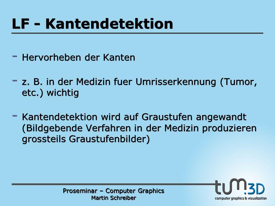 Proseminar – Computer Graphics Martin Schreiber computer graphics & visualization POGPULFFT LF - Kantendetektion - Hervorheben der Kanten - z.