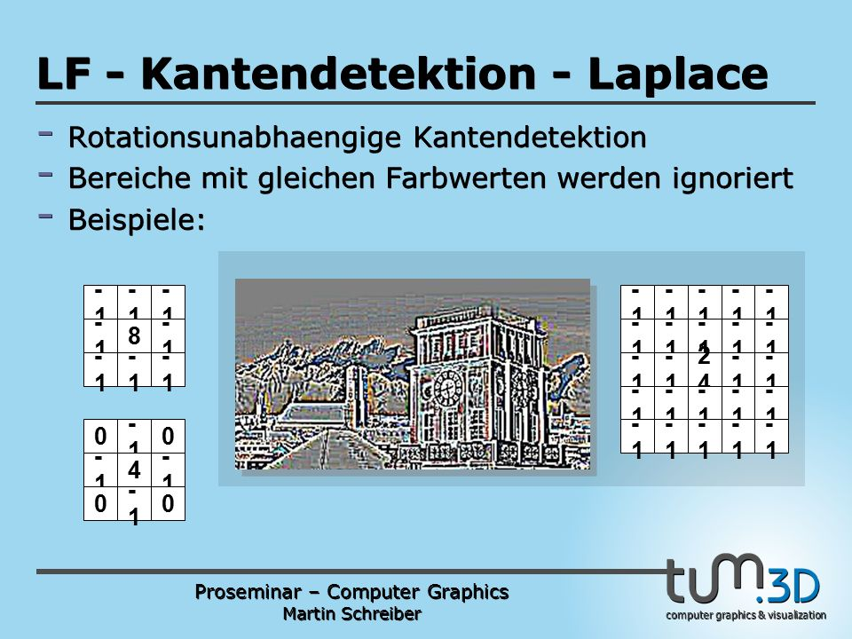 Proseminar – Computer Graphics Martin Schreiber computer graphics & visualization POGPULFFT LF - Kantendetektion - Laplace - Rotationsunabhaengige Kantendetektion - Bereiche mit gleichen Farbwerten werden ignoriert - Beispiele: 0 -1 -1 4 0 -1 0 -1 0 -1 -1 -1 8 -1 -1 -1 -1 -1 -1 -1 -1 -1 2424 -1 -1 -1 -1 -1 -1 -1 -1 -1 -1 -1 -1 -1 -1 -1 -1 -1 -1 -1 -1