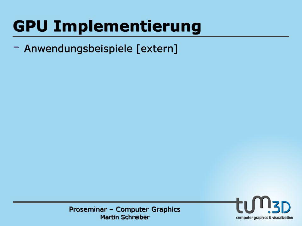 Proseminar – Computer Graphics Martin Schreiber computer graphics & visualization POGPULFFT GPU Implementierung - Anwendungsbeispiele [extern]