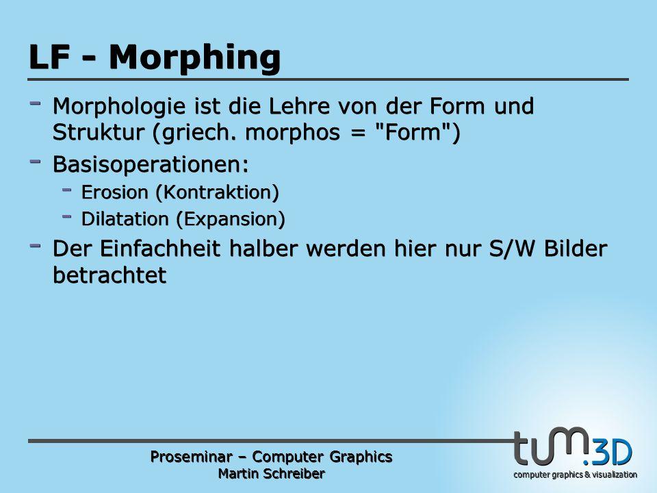 Proseminar – Computer Graphics Martin Schreiber computer graphics & visualization POGPULFFT LF - Morphing - Morphologie ist die Lehre von der Form und Struktur (griech.