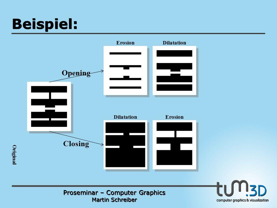 Proseminar – Computer Graphics Martin Schreiber computer graphics & visualization POGPULFFT Beispiel: ErosionDilatation ErosionDilatation Opening Closing Original