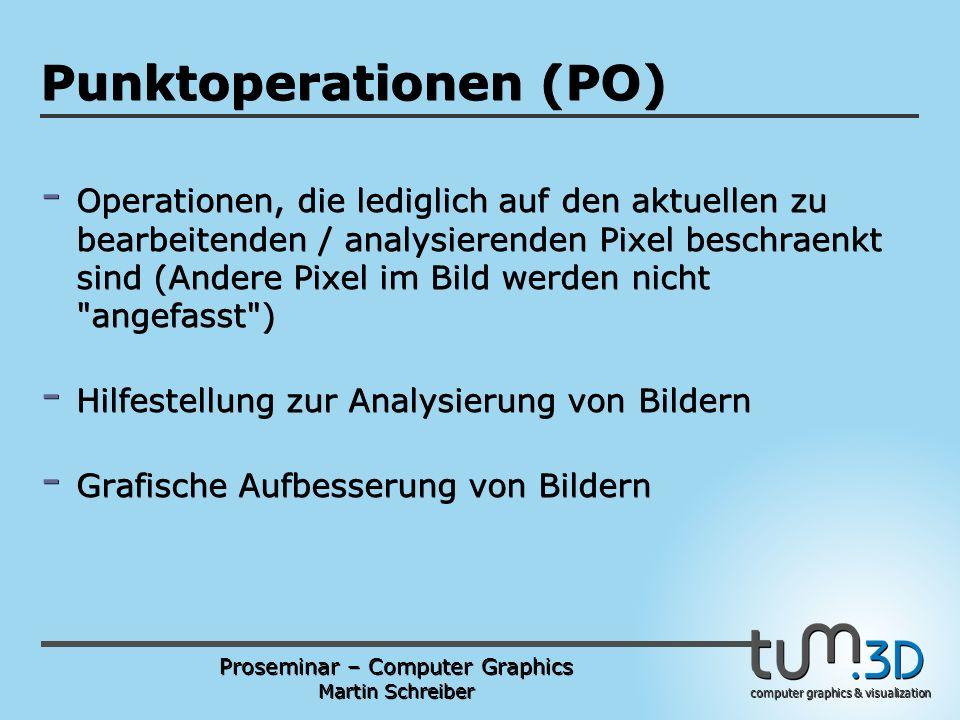 Proseminar – Computer Graphics Martin Schreiber computer graphics & visualization POGPULFFT Punktoperationen (PO) - Operationen, die lediglich auf den aktuellen zu bearbeitenden / analysierenden Pixel beschraenkt sind (Andere Pixel im Bild werden nicht angefasst ) - Hilfestellung zur Analysierung von Bildern - Grafische Aufbesserung von Bildern