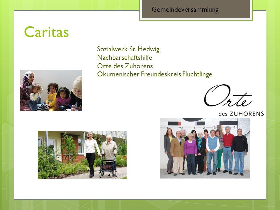 Caritas Gemeindeversammlung Sozialwerk St. Hedwig Nachbarschaftshilfe Orte des Zuhörens Ökumenischer Freundeskreis Flüchtlinge