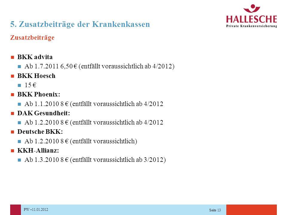 PW –11.01.2012 Seite 13 5. Zusatzbeiträge der Krankenkassen Zusatzbeiträge BKK advita Ab 1.7.2011 6,50 € (entfällt voraussichtlich ab 4/2012) BKK Hoes