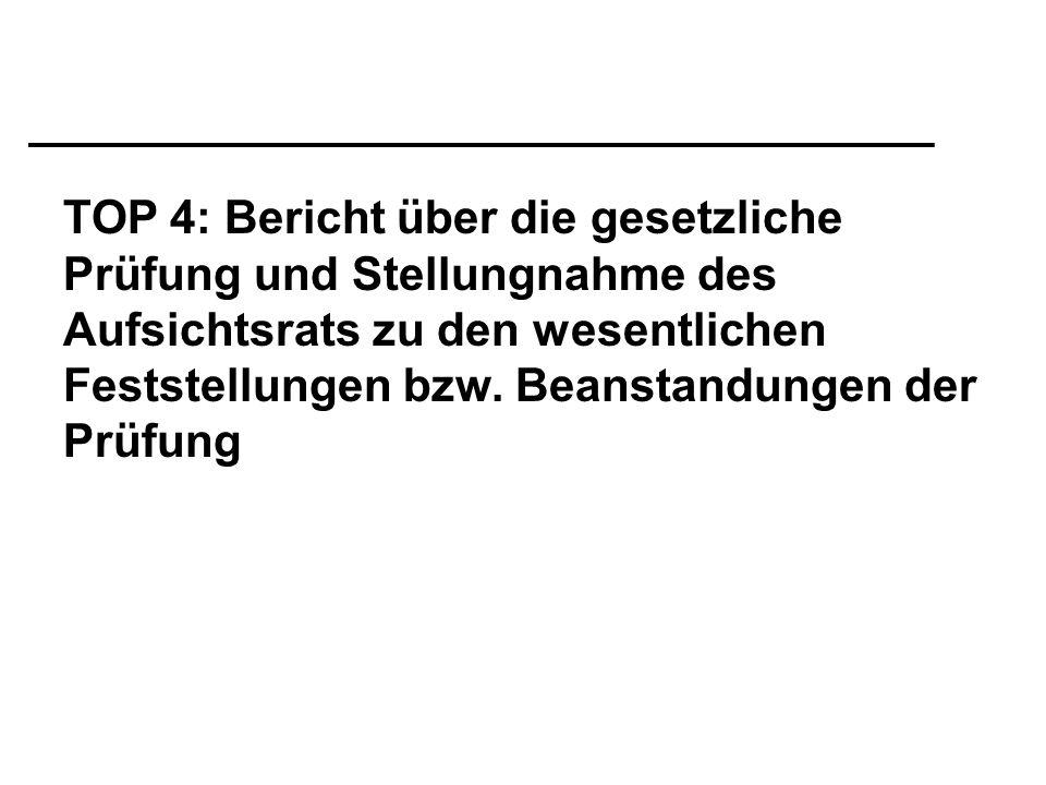 TOP 4: Bericht über die gesetzliche Prüfung und Stellungnahme des Aufsichtsrats zu den wesentlichen Feststellungen bzw.