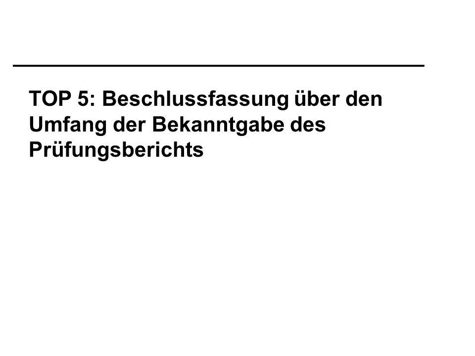 TOP 5: Beschlussfassung über den Umfang der Bekanntgabe des Prüfungsberichts