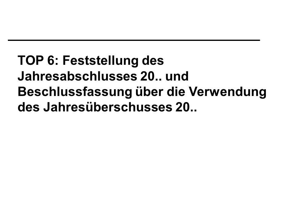 TOP 6: Feststellung des Jahresabschlusses 20..