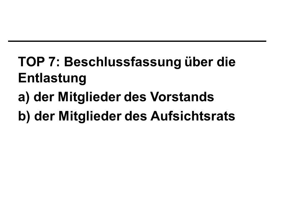 TOP 7: Beschlussfassung über die Entlastung a) der Mitglieder des Vorstands b) der Mitglieder des Aufsichtsrats