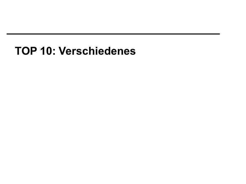 TOP 10: Verschiedenes